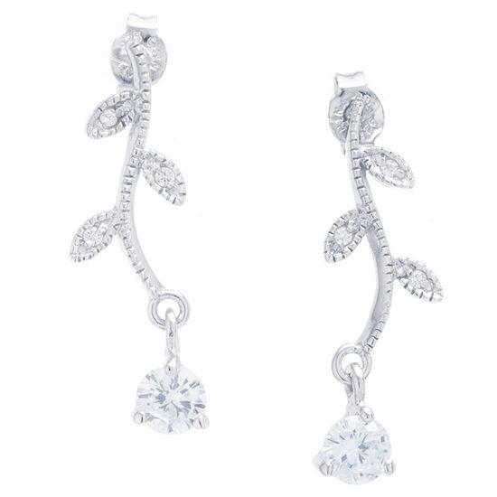 DiamonArt® White Cubic Zirconia Sterling Silver Drop Earrings