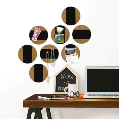 Brewster Wall Black Circle Cork Organizer Shapes Wall Decal