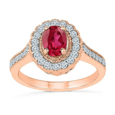 Womens Lab Created Red Ruby 10K Rose Gold Cocktail Ring