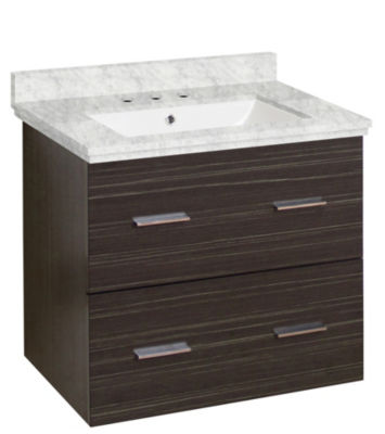 23.75-in. W Wall Mount Dawn Grey Vanity Set For 3H8-in. Drilling Bianca Carara Top White UM Sink