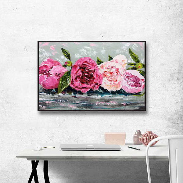 Row Of Peonies II Floater-Framed Gallery Wrapped Canvas