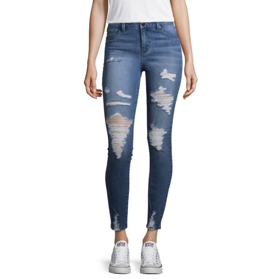 Blue Spice Ripped Skinny Fit Jeggings-Juniors