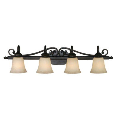 Belle Meade 4-Light Bath Vanity in Rubbed Bronze with Tea Stone Glass