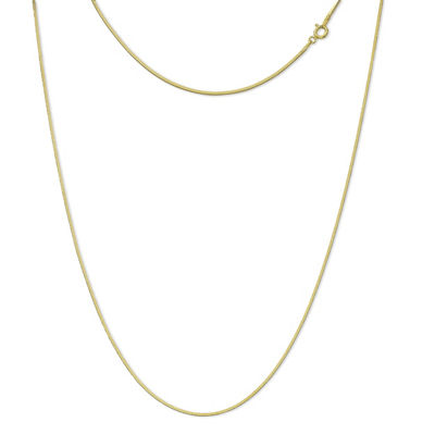 Made In Italy 24K Gold Over Silver Sterling Silver Solid Snake 20 Inch Chain Necklace