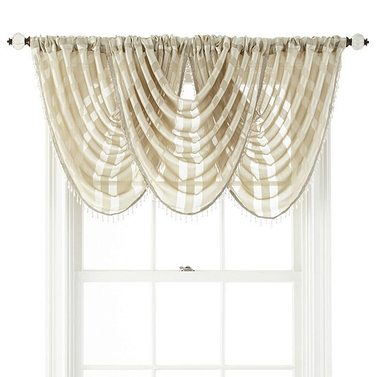 JCPenney Home Cherise Rod-Pocket Waterfall Valance