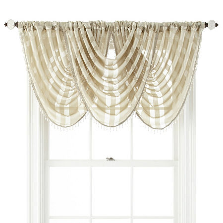JCPenney Home Cherise Rod-Pocket Waterfall Valance, One Size , Beige