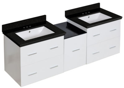 61.5-in. W Wall Mount White Vanity Set For 3H4-in.Drilling Black Galaxy Top White UM Sink