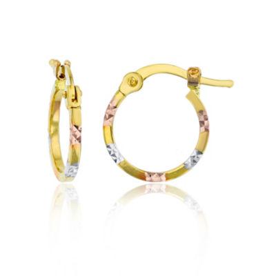14K Tri-Color Gold 10mm Hoop Earrings