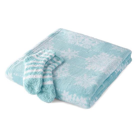 North Pole Trading Co Sock & Throw Gift Box Set