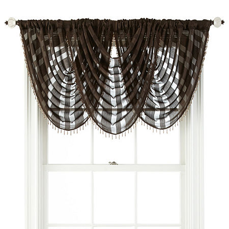 JCPenney Home Cherise Rod-Pocket Waterfall Valance, One Size , Brown