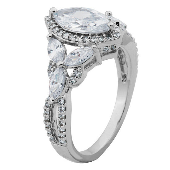 Diamonart Womens White Cubic Zirconia Sterling Silver Engagement Ring