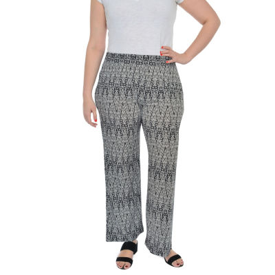 NY Collection Elastic Waist Printed Pant - Plus