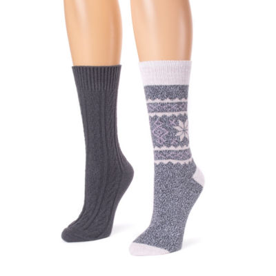 Muk Luks 2 Pair Crew Socks - Womens