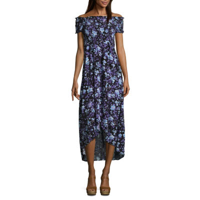 Arizona Short Sleeve Maxi Dress-Juniors