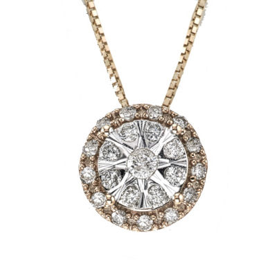 Diamond Blossom Womens 1/4 CT. T.W. Genuine White Diamond 10K Two Tone Gold Pendant Necklace