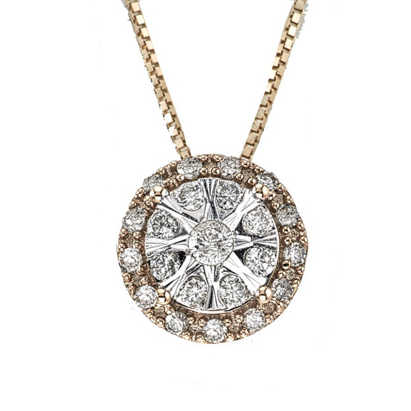 Diamond Blossom Womens 1/4 CT. T.W. White Diamond 10K Gold Pendant Necklace