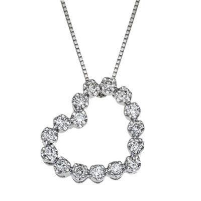 Womens 1/4 CT. T.W. White Diamond 10K Gold Pendant Necklace