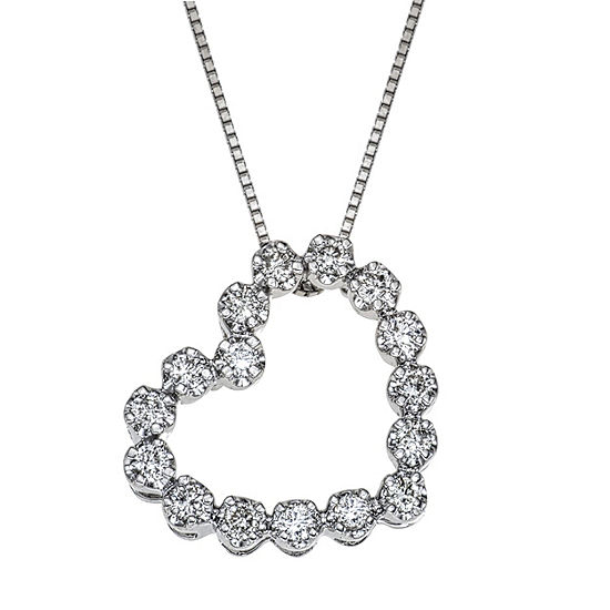 Womens 1 4 Ct Tw Genuine White Diamond 10k White Gold Heart Pendant Necklace