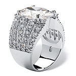 Diamonart Womens White Cubic Zirconia Sterling Silver Oval Engagement Ring