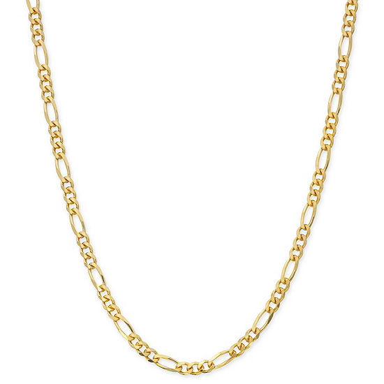 Made in Italy 24K Gold Over Silver Sterling Silver 24 Inch Solid Figaro Chain Necklace