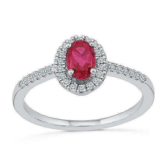 Womens 1/6 CT. T.W. Lab Created Red Ruby Sterling Silver Cocktail Ring