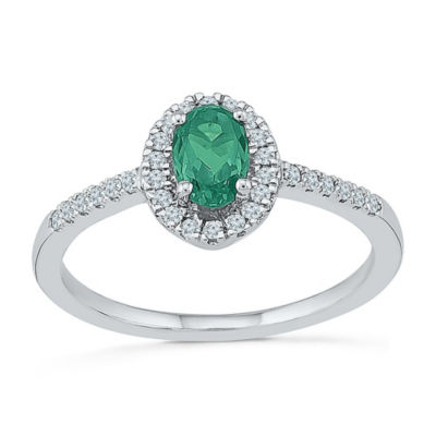 Womens 1/6 CT. T.W. Lab Created Green Emerald Cocktail Ring