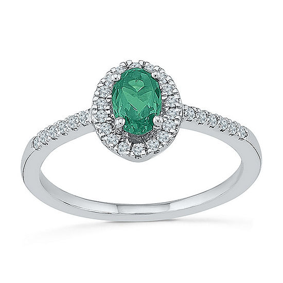 Womens 1/6 CT. T.W. Lab Created Green Emerald Sterling Silver Cocktail Ring