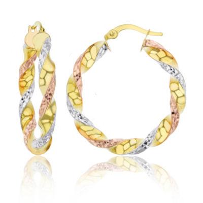 14K Tri-Color Gold 45mm Hoop Earrings