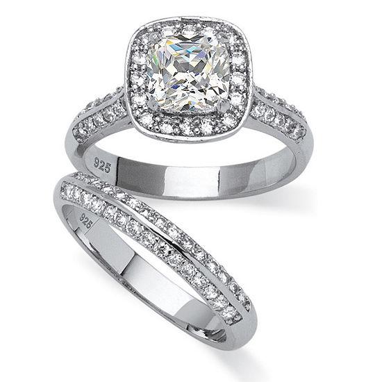 DiamonArt® Womens 2 CT. T.W. White Cubic Zirconia Platinum Over Silver Square Bridal Set