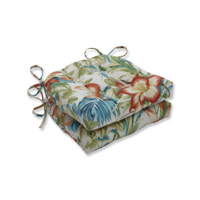Pillow Perfect Set of 2 Botanical Glow Tiger Lily Reversible Patio Seat Cushions