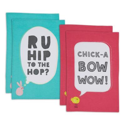 Hip Easter Embellished Printed Dishtowel Set - Set of 4