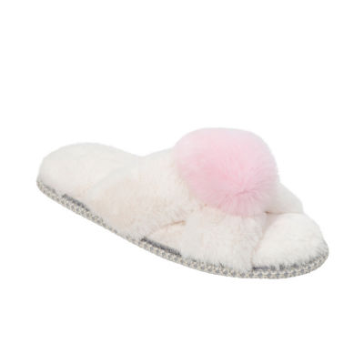 Dearfoams X-Band Slide Slippers With Pom