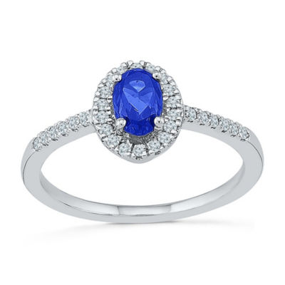 Womens 1/6 CT. T.W. Lab Created Blue Sapphire Sterling Silver Cocktail Ring