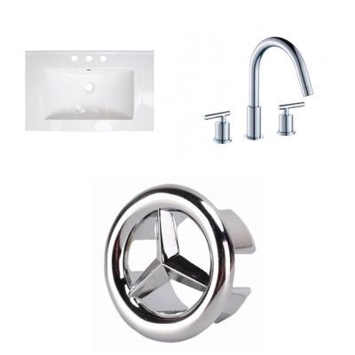 25-in. W 3H8-in. Ceramic Top Set In White Color -CUPC Faucet Incl.