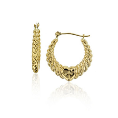 14K Gold 22mm Heart Hoop Earrings