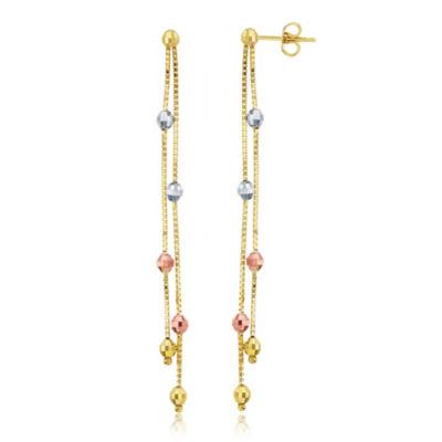 14K Tri-Color Gold Drop Earrings