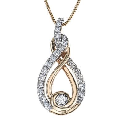 Womens 1/5 CT. T.W. White Diamond 10K Two Tone Gold Pendant Necklace