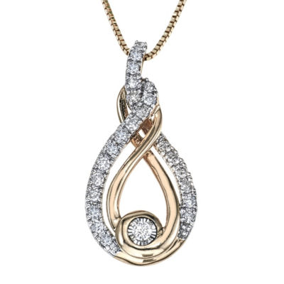 Womens 1/4 CT. T.W. White Diamond 10K Two Tone Gold Pendant Necklace