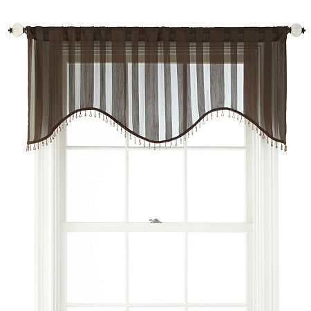JCPenney Home Cherise Rod-Pocket Scallop Valance, One Size , Brown