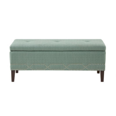 Madison Park Bartley Lift Top Padded Storage Bench with Silver Nail Head Accent