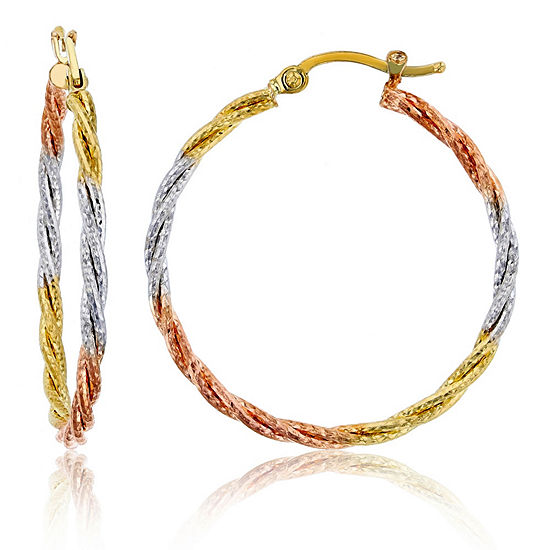 14K Tri-Color Gold 35mm Hoop Earrings