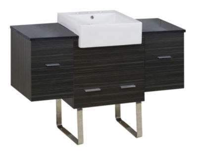 50.75-in. W Floor Mount Dawn Grey Vanity Set For 3H8-in. Drilling Black Galaxy Top