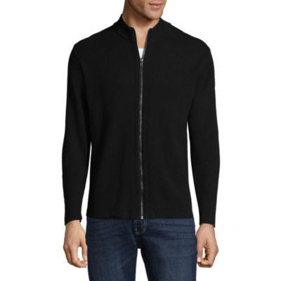 Claiborne Full Zip Mens Mock Neck Long Sleeve Sweater