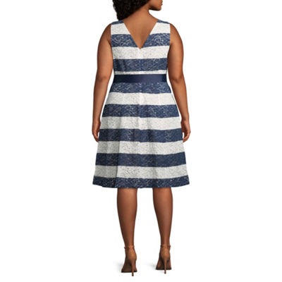 Robbie Bee Sleeveless Stripe Fit & Flare Dress - Plus