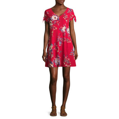 Arizona Short Sleeve Floral Fit & Flare Dress-Juniors