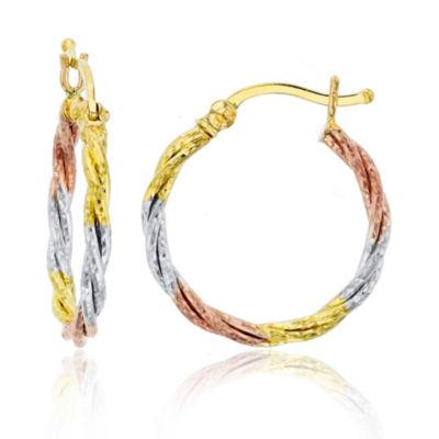 14K Tri-Color Gold 15mm Hoop Earrings