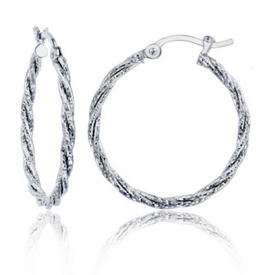 14K White Gold 20mm Hoop Earrings