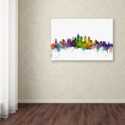Trademark Fine Art Michael Tompsett Philadelphia Pennsylvania Skyline Giclee Canvas Art