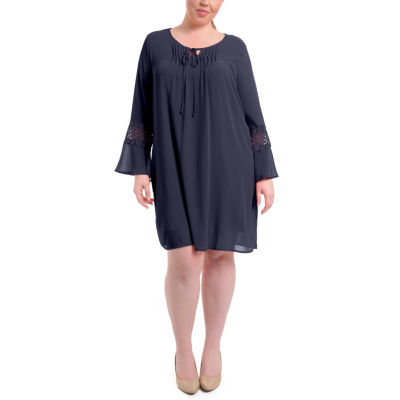 NY Collection Bell Sleeve Peasant Dress with Crochet Trim - Plus