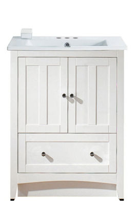 30-in. W Floor Mount White Vanity Set For 3H4-in.Drilling